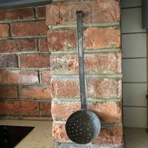 Antique Primitive Slotted Ladle, Skimmer, Strainer
